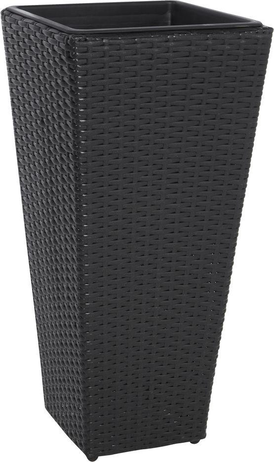 pflanzk bel blumenk bel polyrattan 28x28x60cm schwarz wasserdichter kunststoff ebay. Black Bedroom Furniture Sets. Home Design Ideas